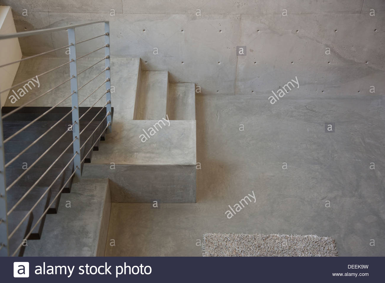Interior of modern house, metal staircase - Stock Image