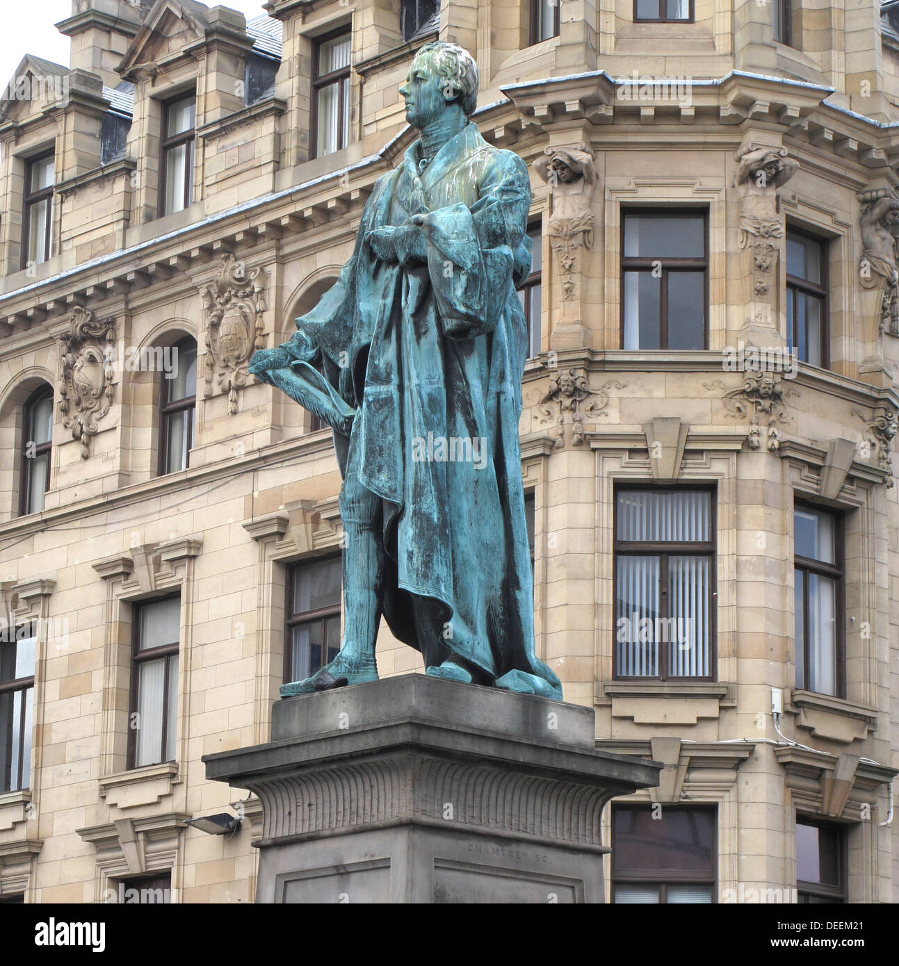 Statue of William Pitt the Younger (Britain's Youngest Prime Minister), George Street, New Town, Edinburgh, Scotland, UK - Stock Image