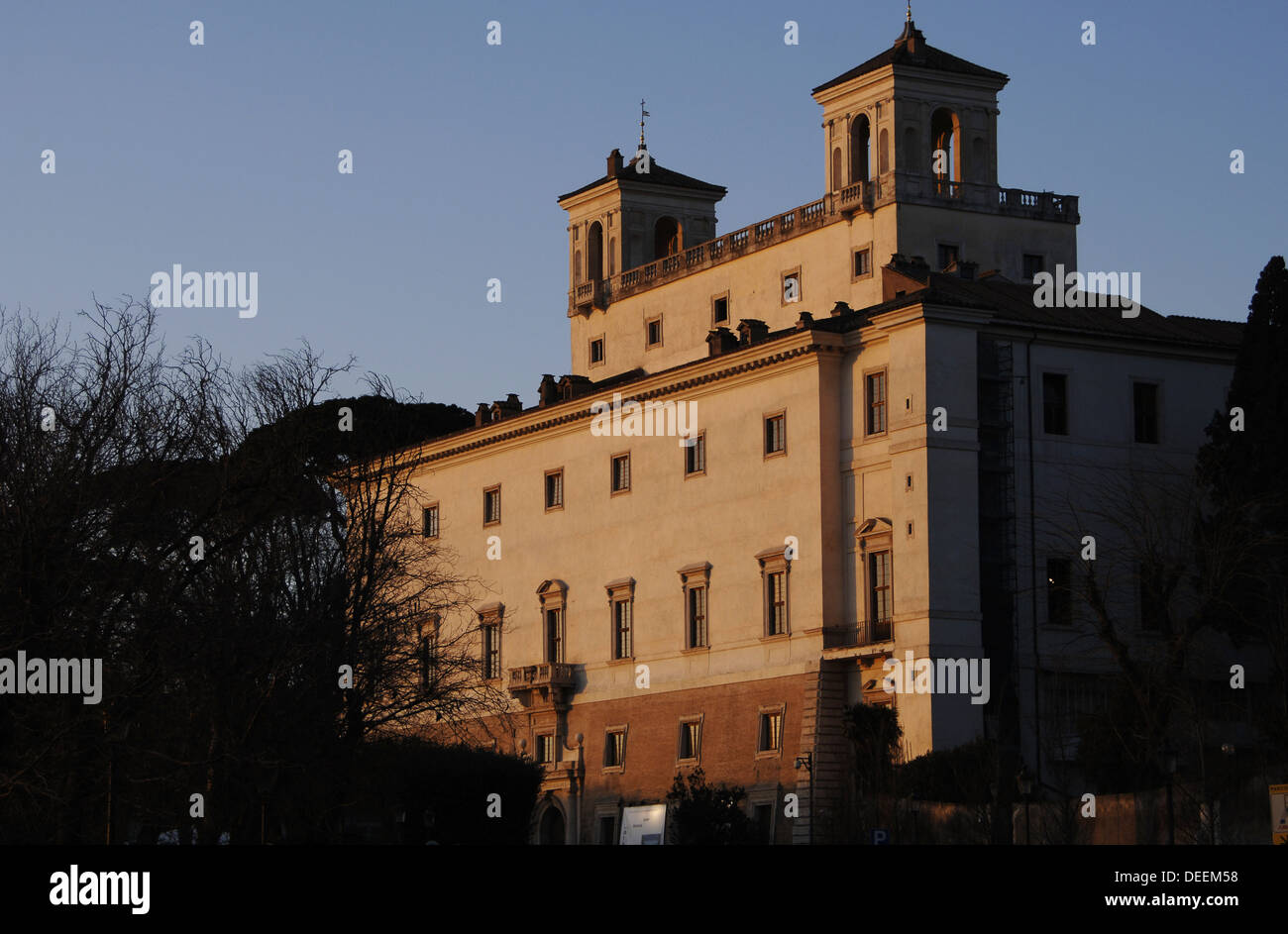 Italy. Rome. Medici's Villa. Founded by Ferdinand I Medici. 16th century. Built by Annibale Lippi. Exterior. - Stock Image
