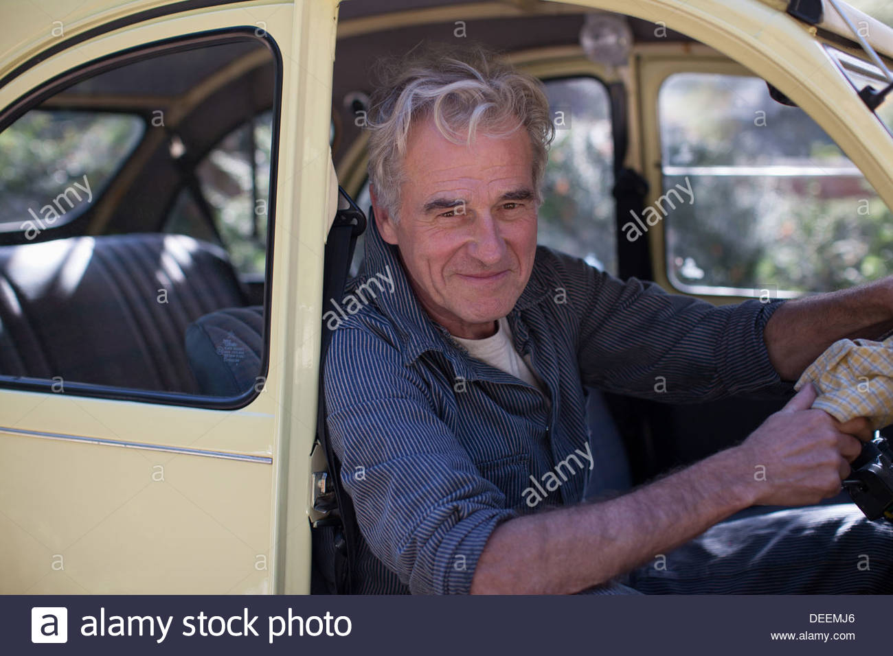 Portrait of smiling senior man in car doorway - Stock Image