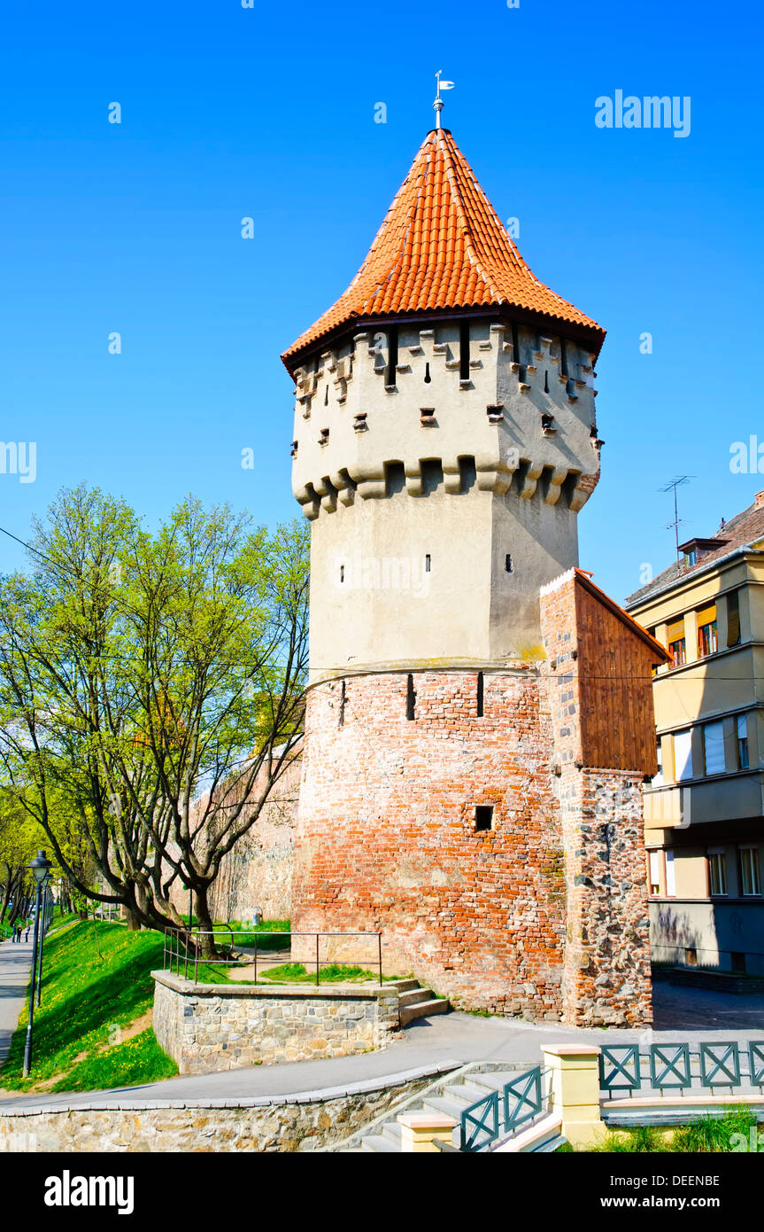 defense tower in Sibiu, Romania - Stock Image