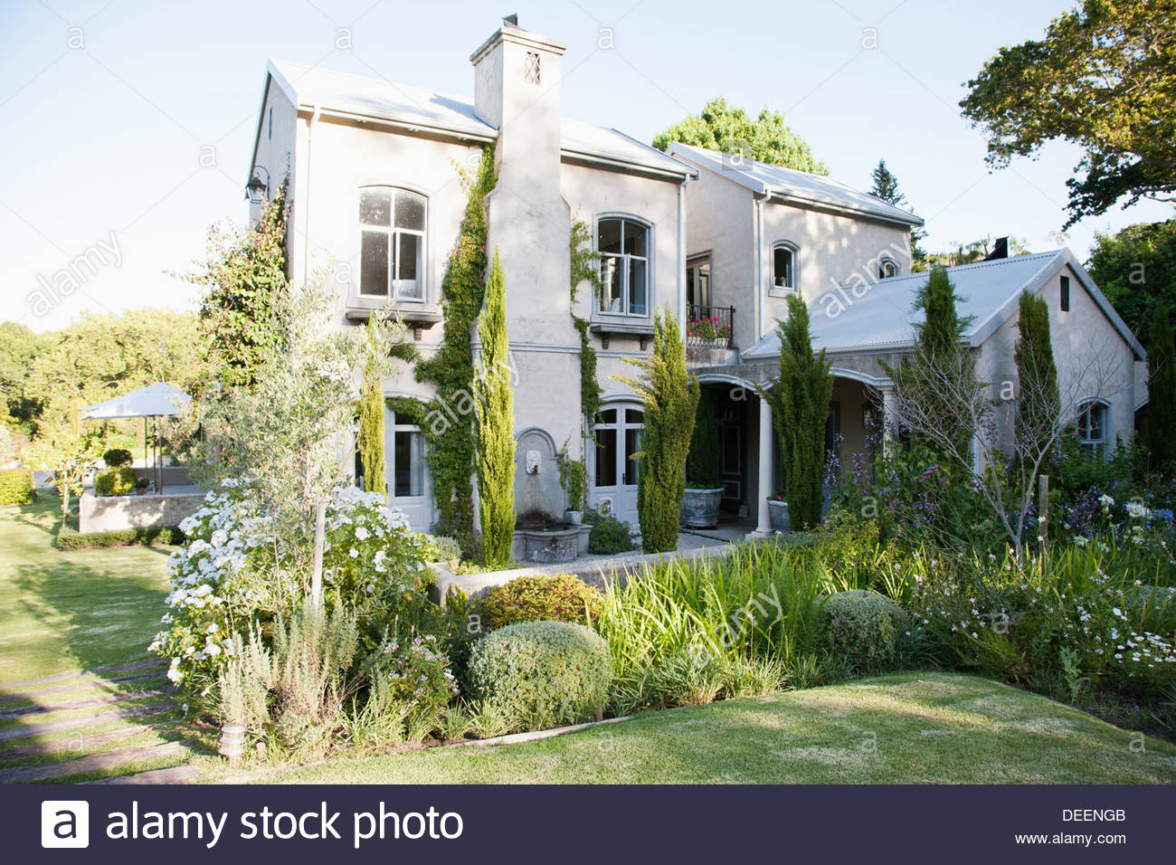 House and garden - Stock Image