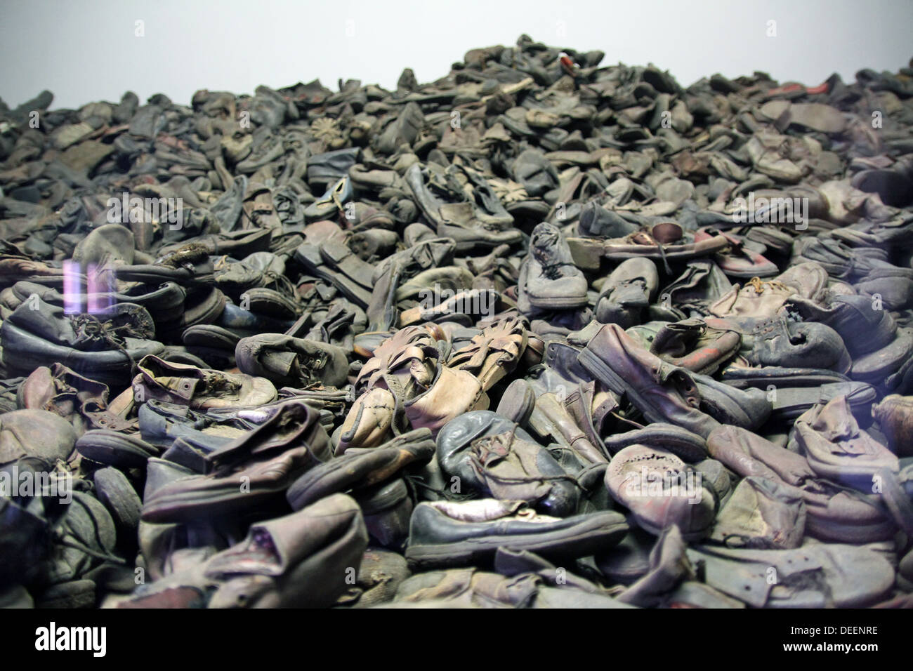 Behind a display glass, shoes of Jewish victims of the