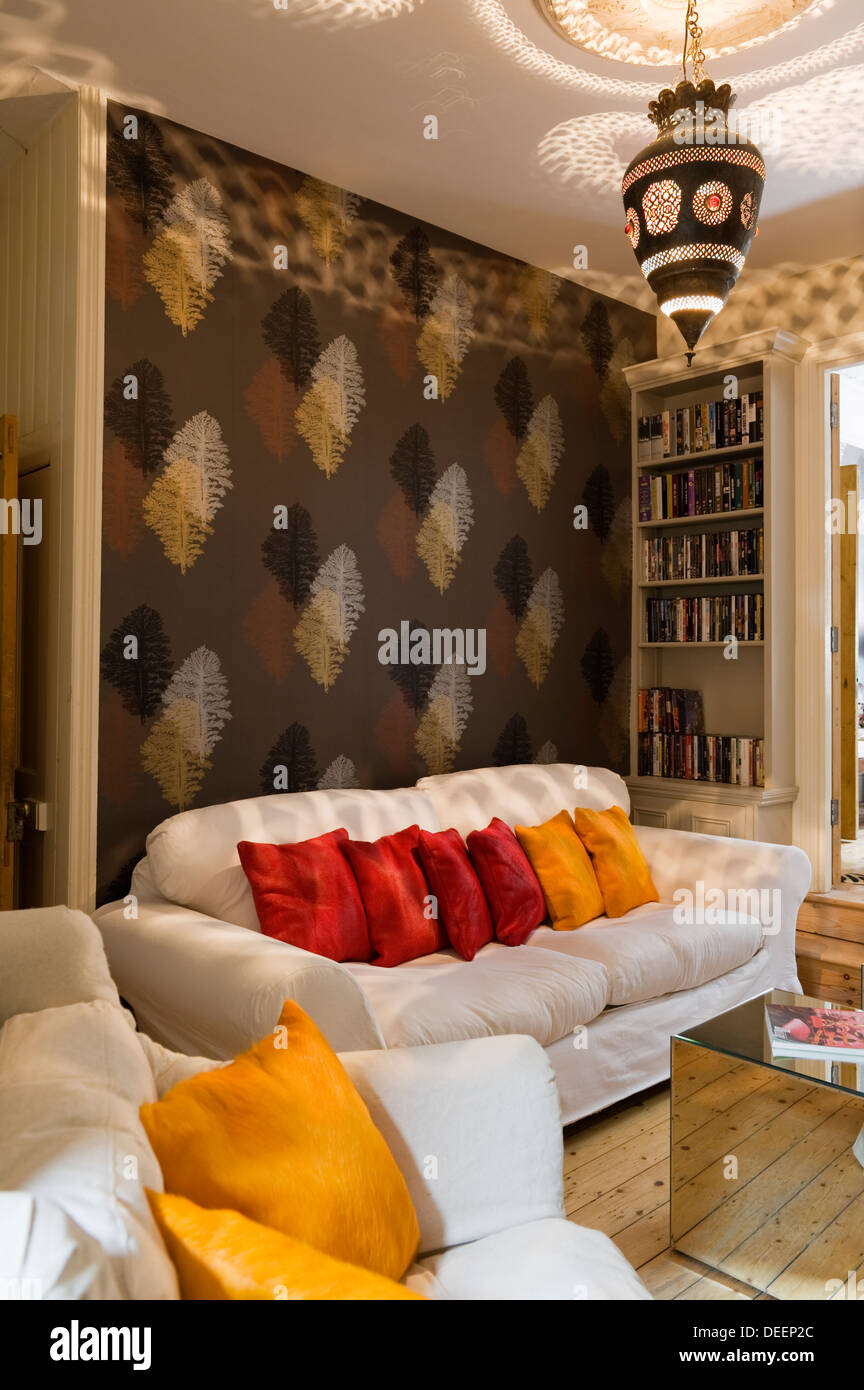 Living Area With Mirrored Armada Cubes A Moroccan Lantern And Silk Stock Photo Alamy