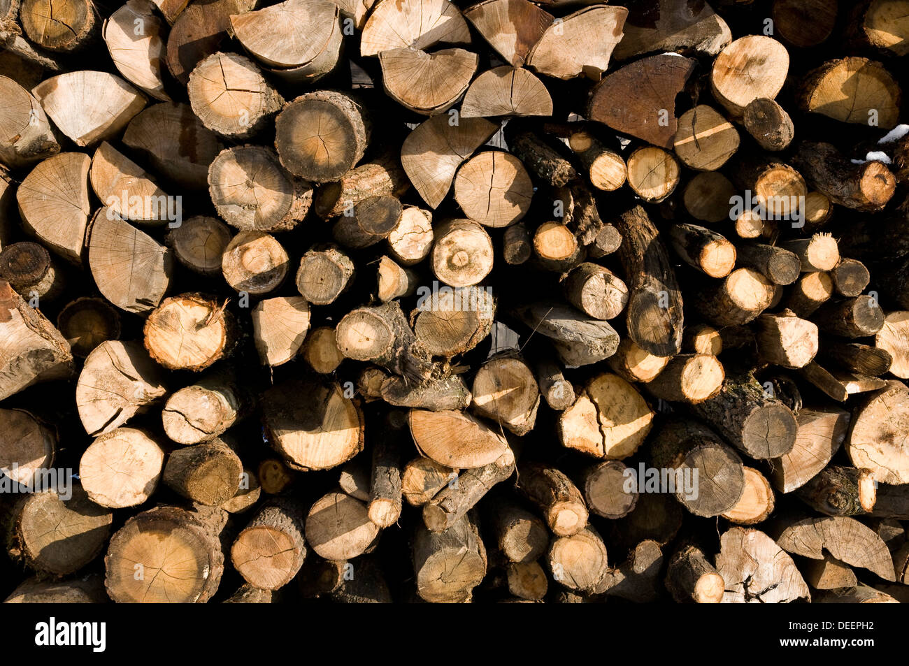 close up from a pile of wood for fire in winter - Stock Image