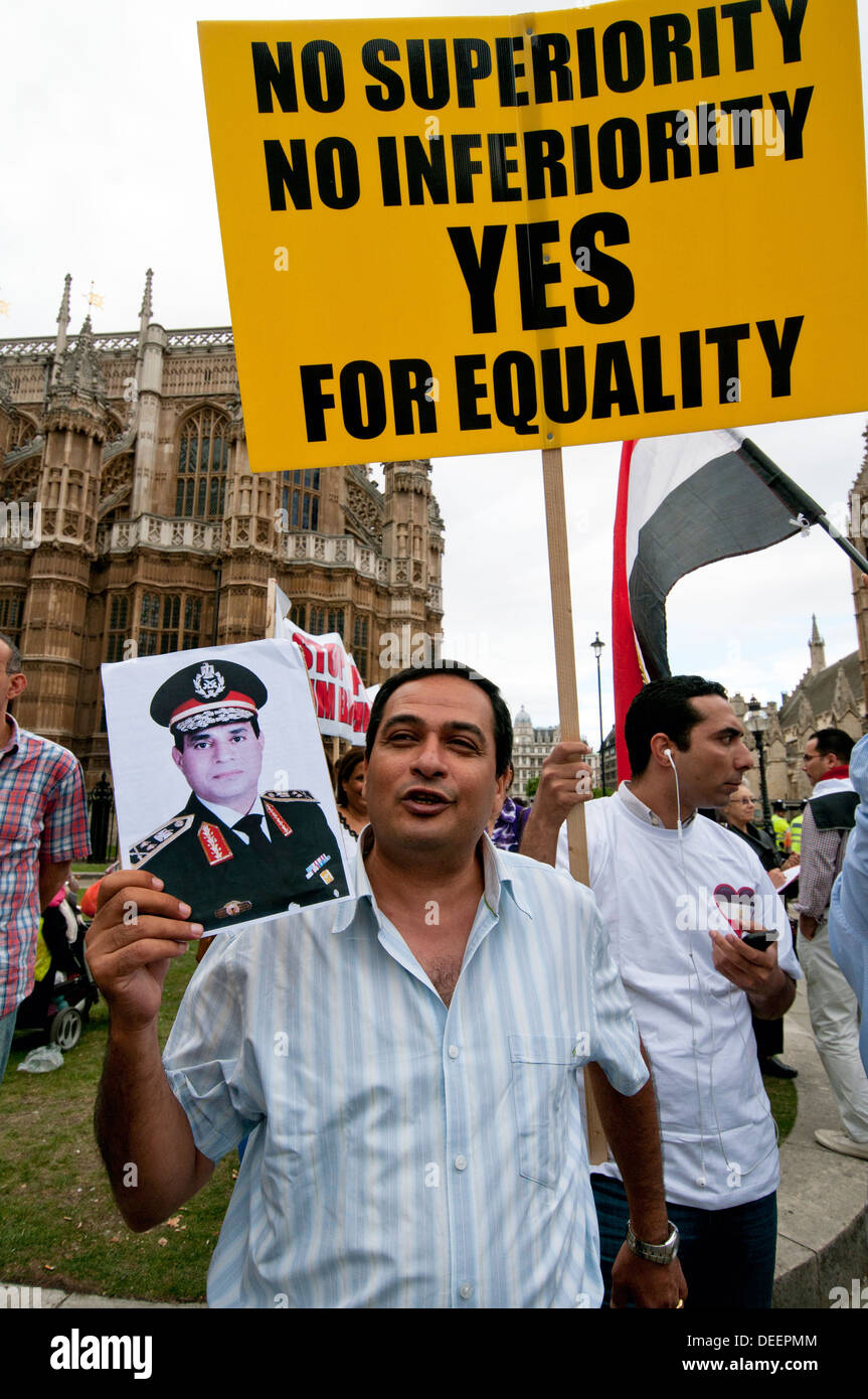 Egyptian Pro-Government Pro-Army  protesters in London August 2013 Stock Photo
