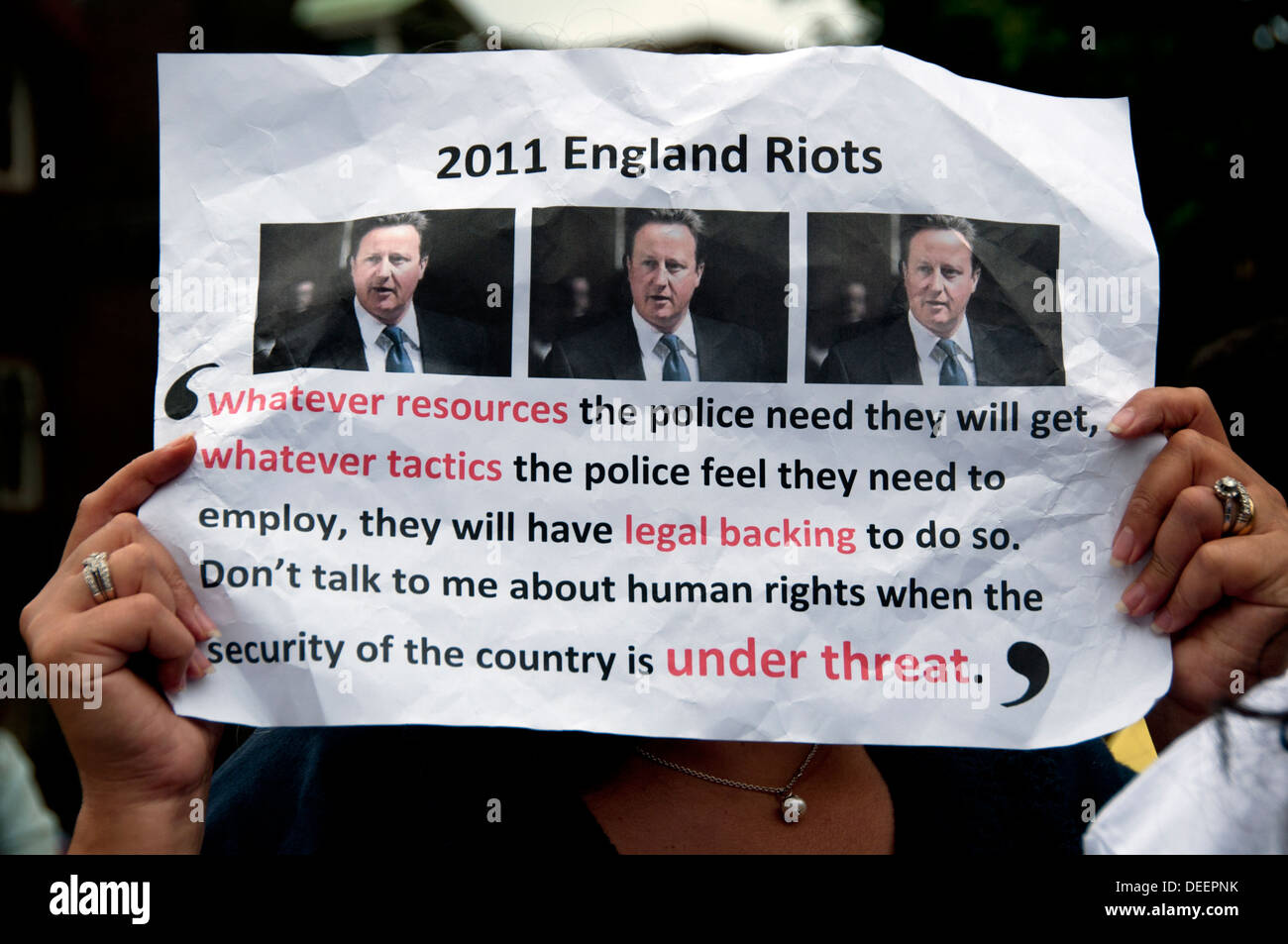 Egyptian Pro-Government Pro-Army  protesters in London August 2013 - Stock Image