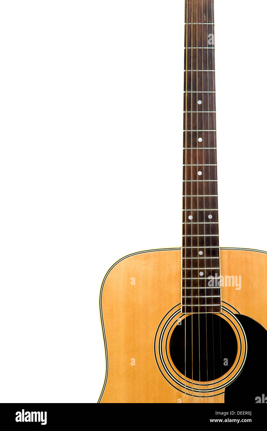 detail from acoustic guitar isolated on a white background - Stock Image