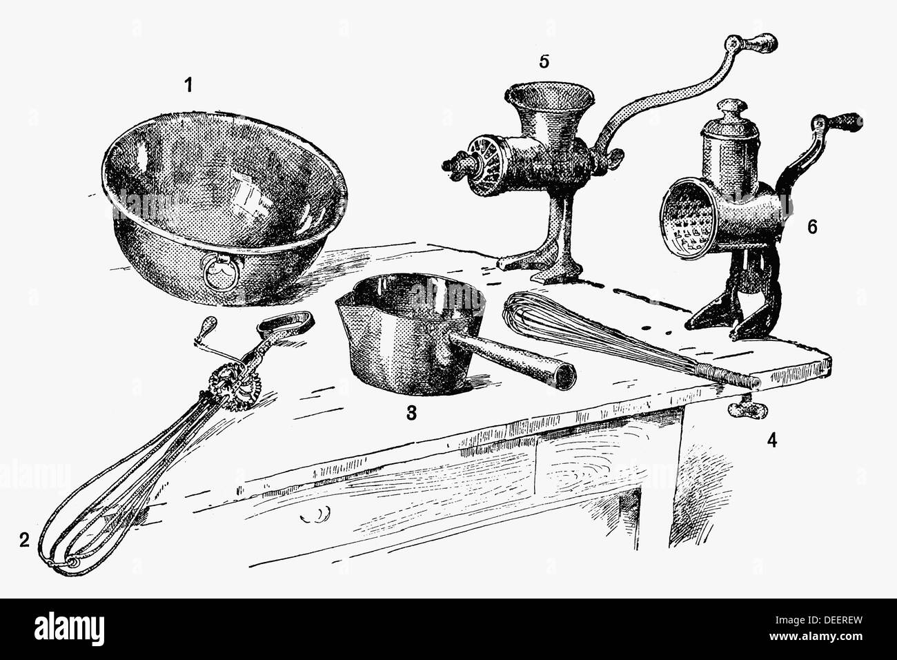 Kitchen utensils. Antique drawing, ca. 1900 Stock Photo: 60562065 ...