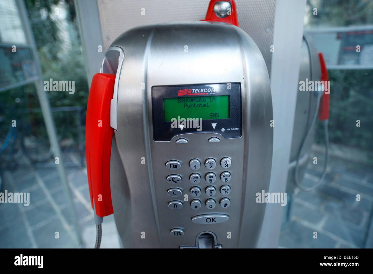 Telecom Italia payphone, Italy. - Stock Image