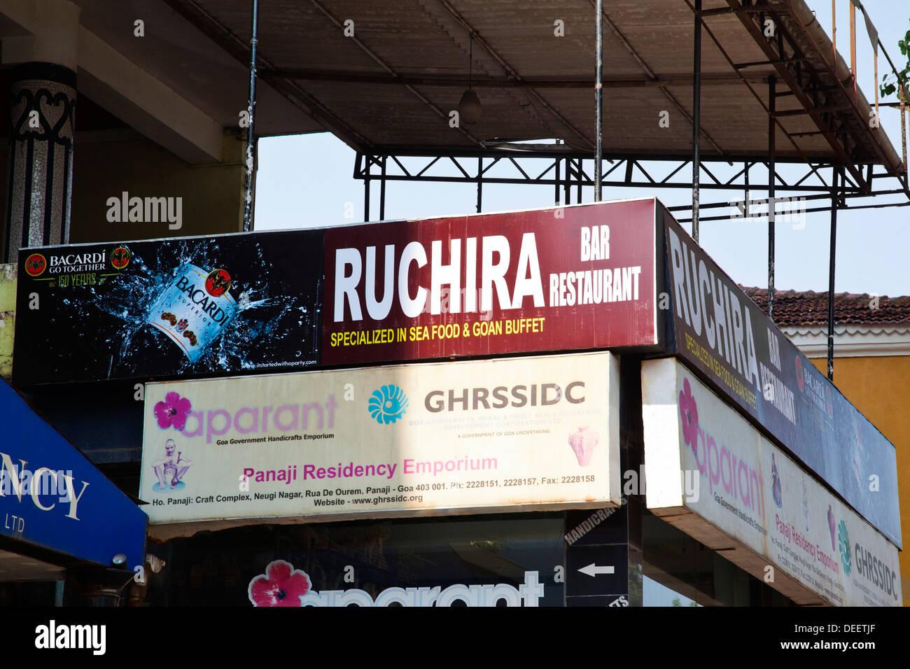 Sign Board Of A Restaurant Ruchira Restaurant Panaji North Goa