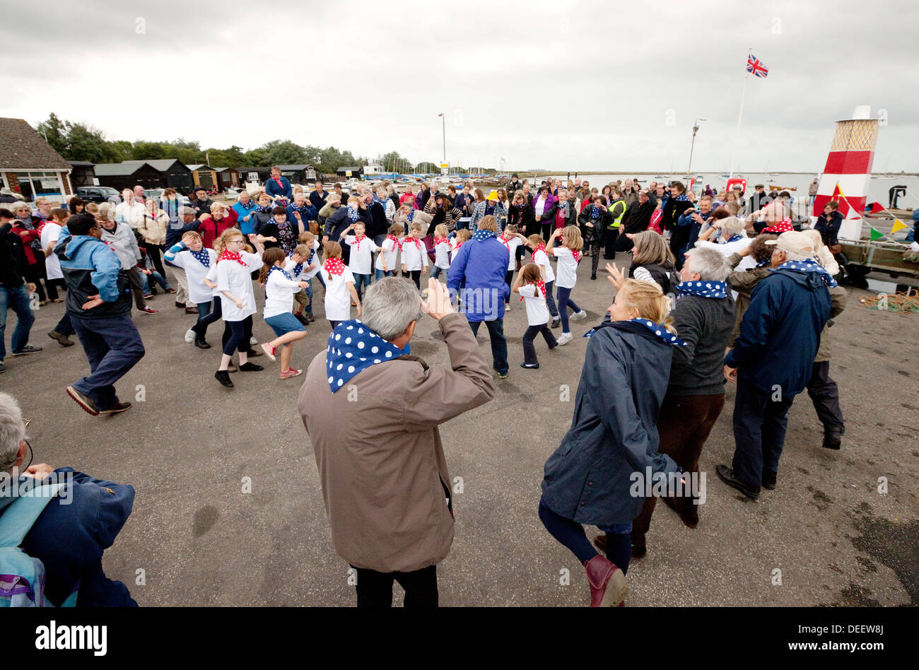 People dancing outdoors at a local Suffolk village fete, Orford, Suffolk UK - Stock Image
