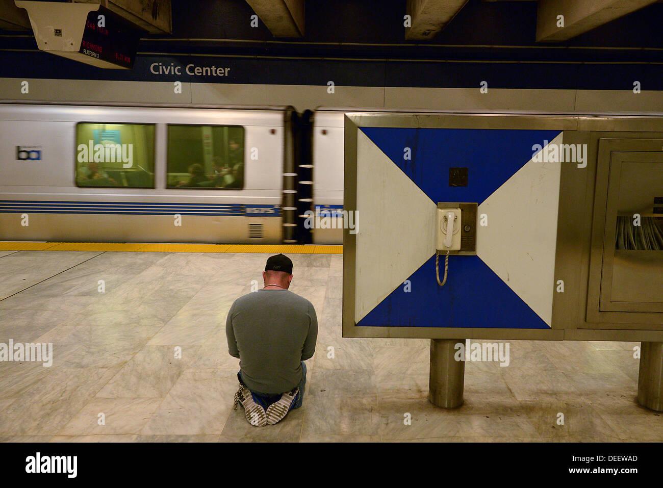 civic center bart station san francisco - Stock Image