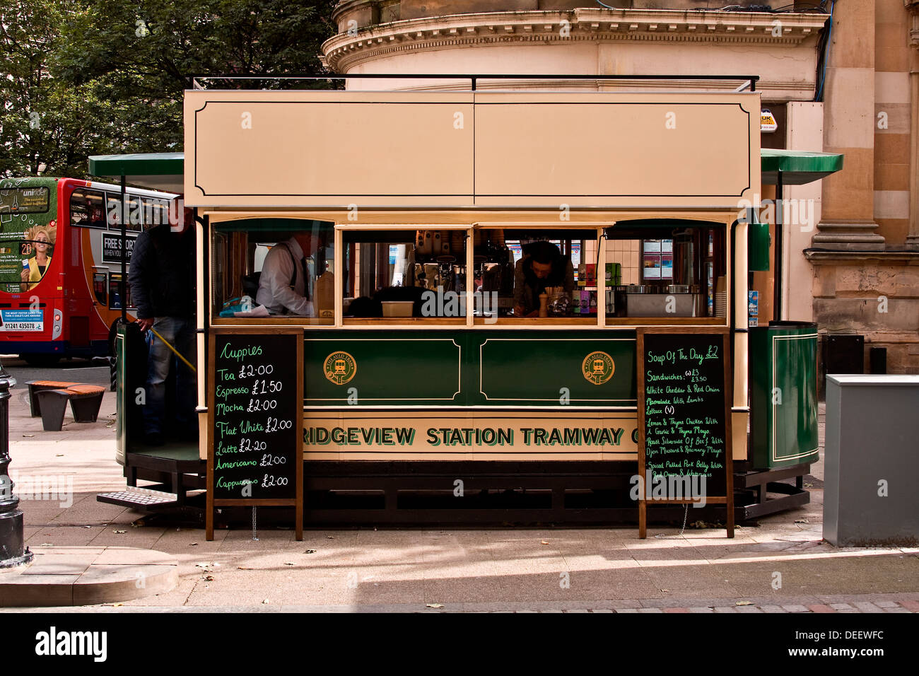 Bridgeview Station Tramway Co. Ltd Tram car outside the is a small take away outlet catering for the people in Dundee, Stock Photo