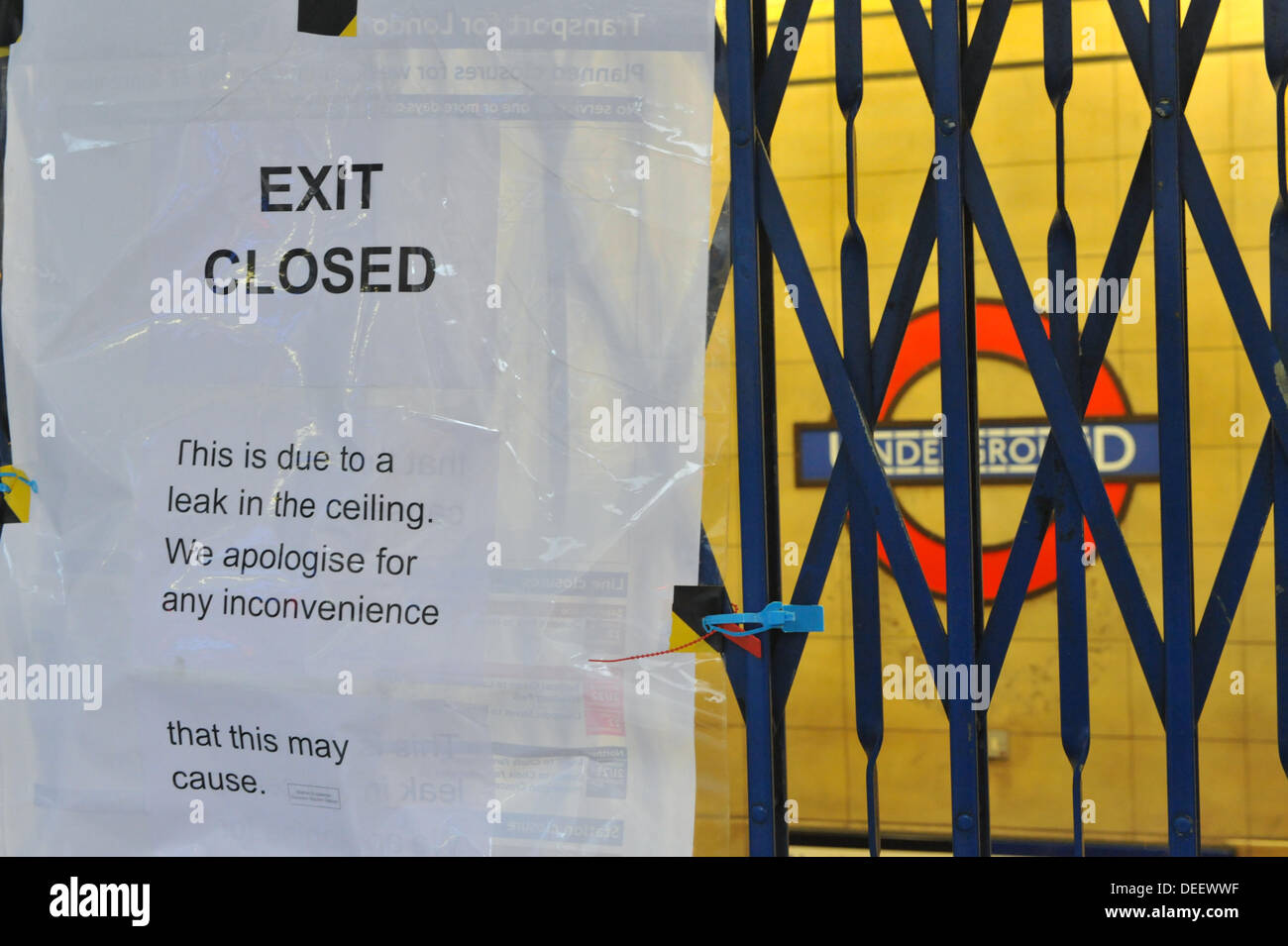 Leicester Square, London, UK. 17th September 2013. An entrance to Leicester Square  tube is closed due to water leaks. Credit:  Matthew Chattle/Alamy Live News - Stock Image