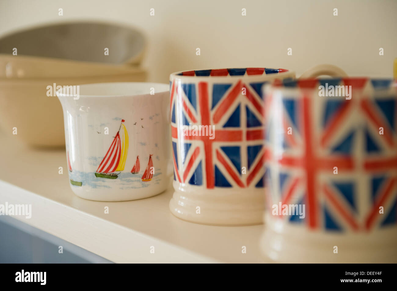 Union Jack cups by Emma Bridgewater - Stock Image