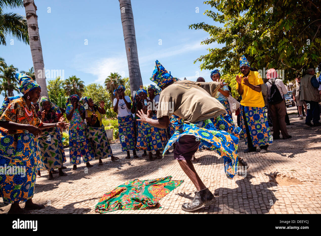 Africa, Angola, Benguela. Women and men dancing in traditional dress. Stock Photo