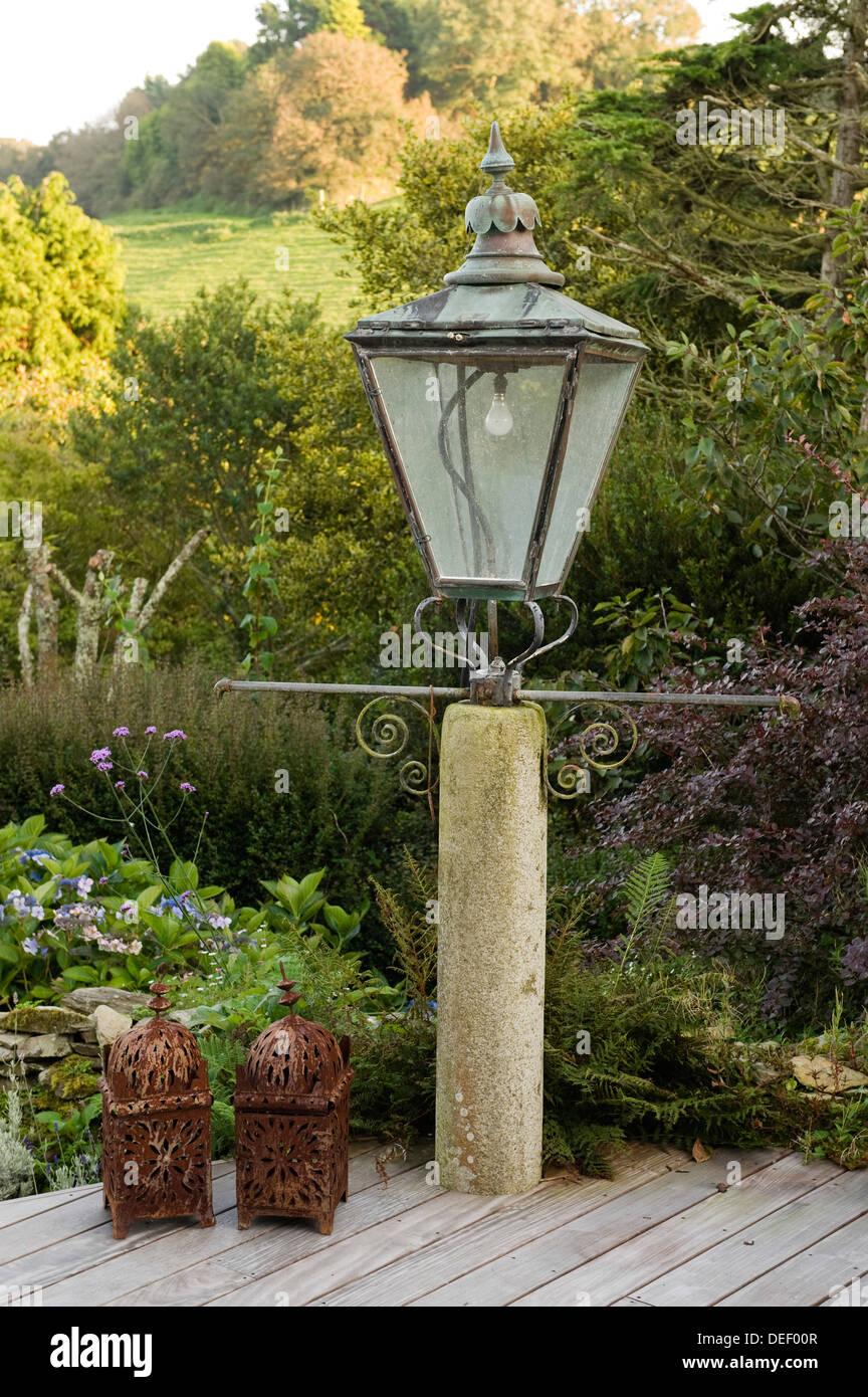 Oversized patio lamp - Stock Image