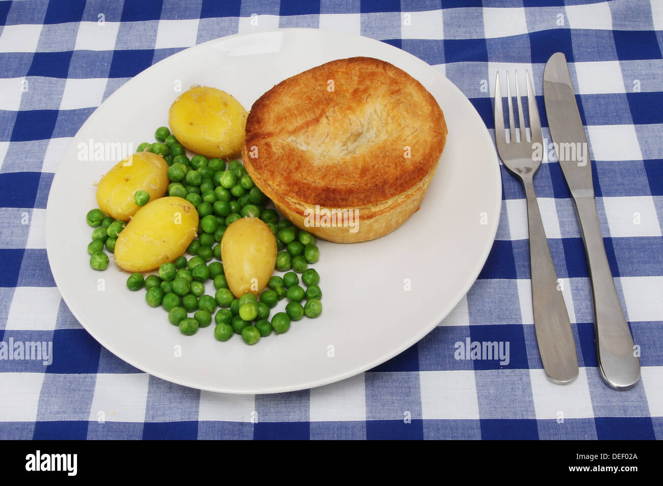 Meat pie and vegetables on a plate set on a blue check table cloth & Meat pie and vegetables on a plate set on a blue check table cloth ...