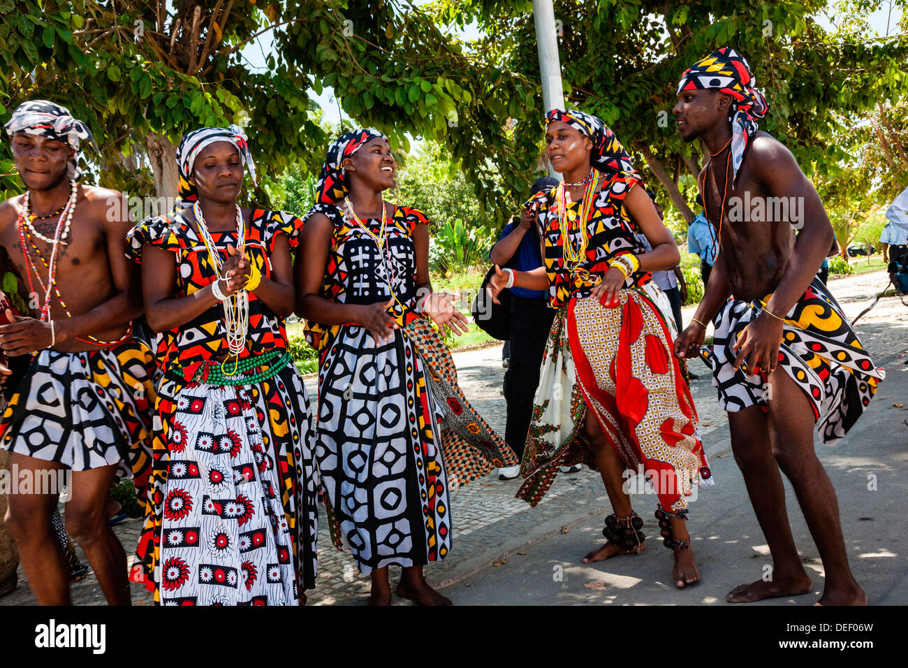 Africa, Angola, Benguela. Group dancing in traditional dress. - Stock Image