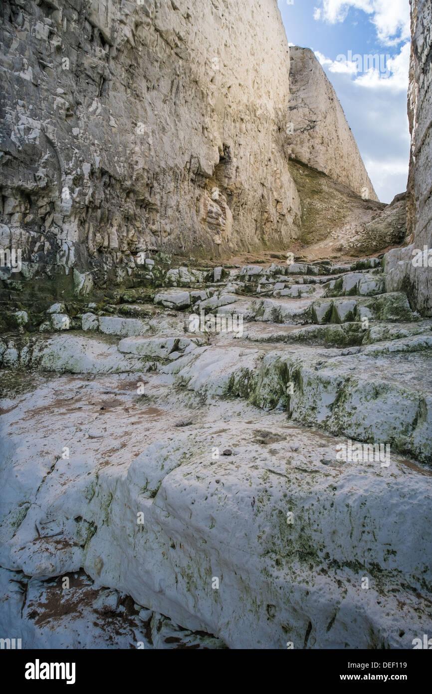 Pathway Between Chalk Cliffs, Kingsgate Bay, Thanet, Kent, UK - Stock Image