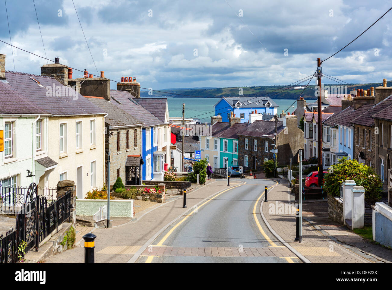 View down Church Street towards the habour, New Quay, Ceredigion, West Wales, UK - Stock Image