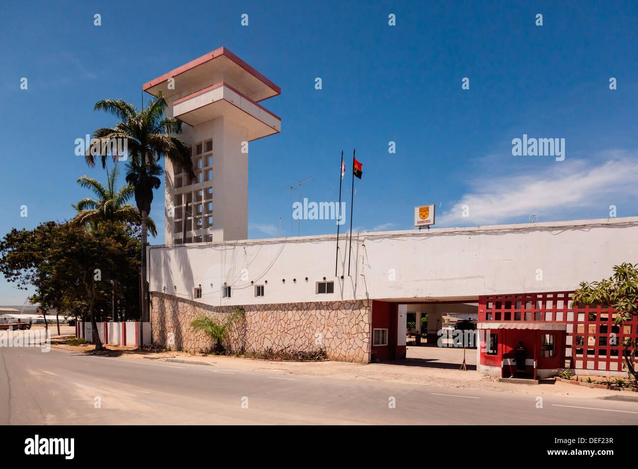 Africa, Angola, Lobito. Roadside shot of fire station. - Stock Image