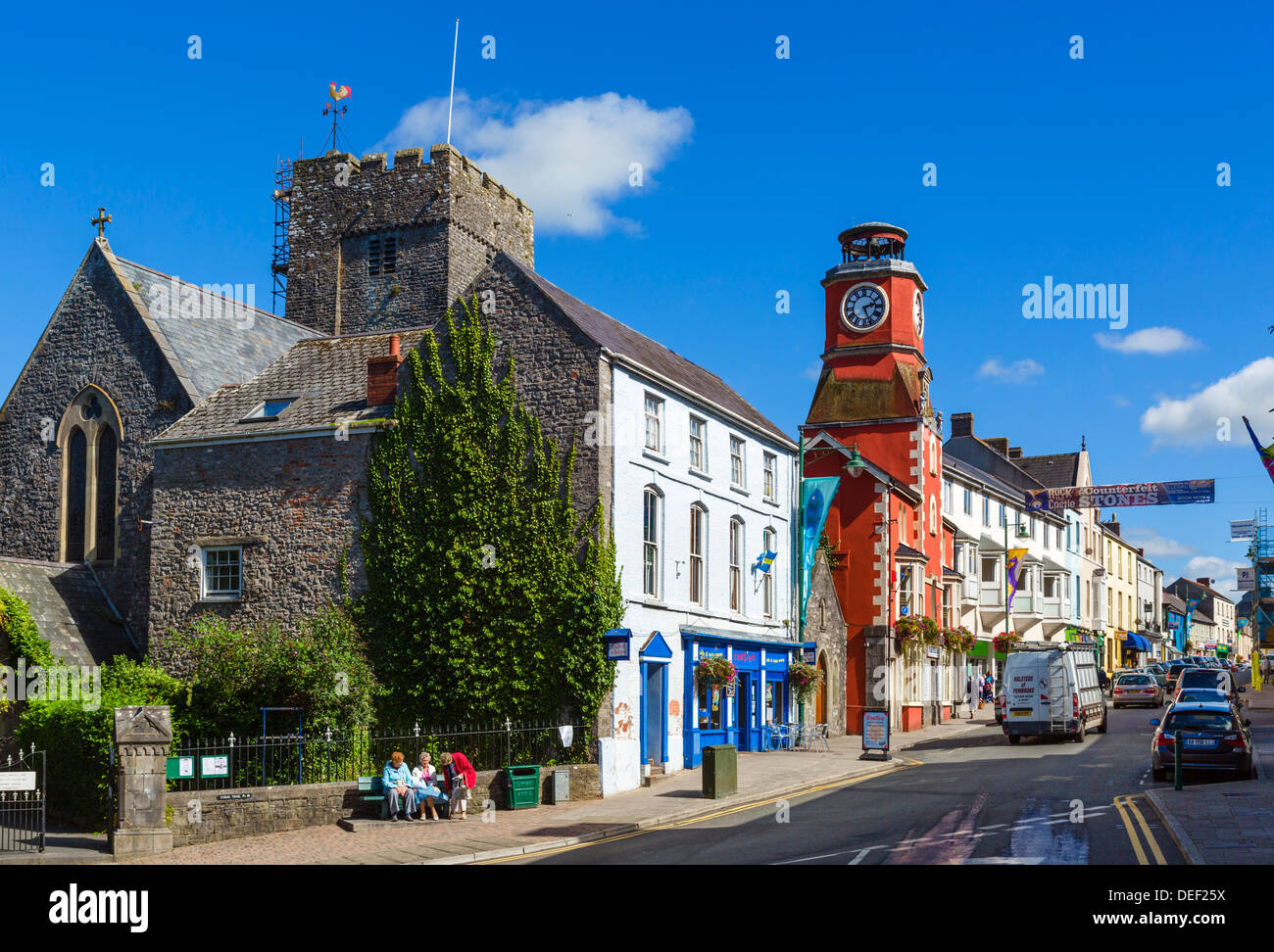 View down Main Street in the town centre, Pembroke, Pembrokeshire, Wales, UK - Stock Image