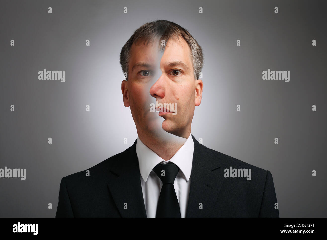 Optical Illusion of man with two faces - Stock Image
