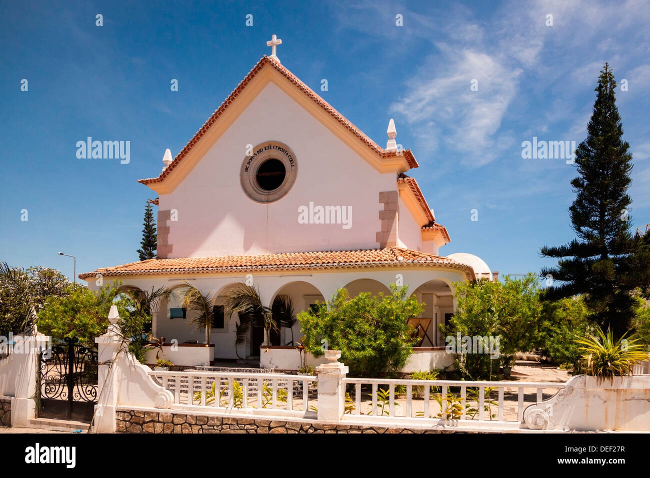 Africa, Angola, Lobito. View of small chapel on road. - Stock Image