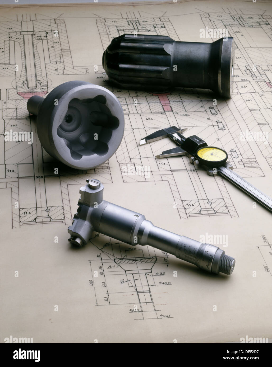 Blueprints and tools - Stock Image