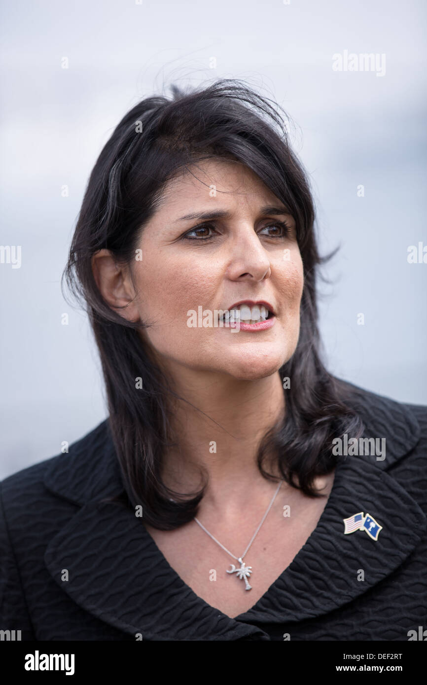 South Carolina Governor Nikki Haley during a visit to Port of Charleston Columbus Container Terminal on September 16, 2013 in Charleston, South Carolina. - Stock Image