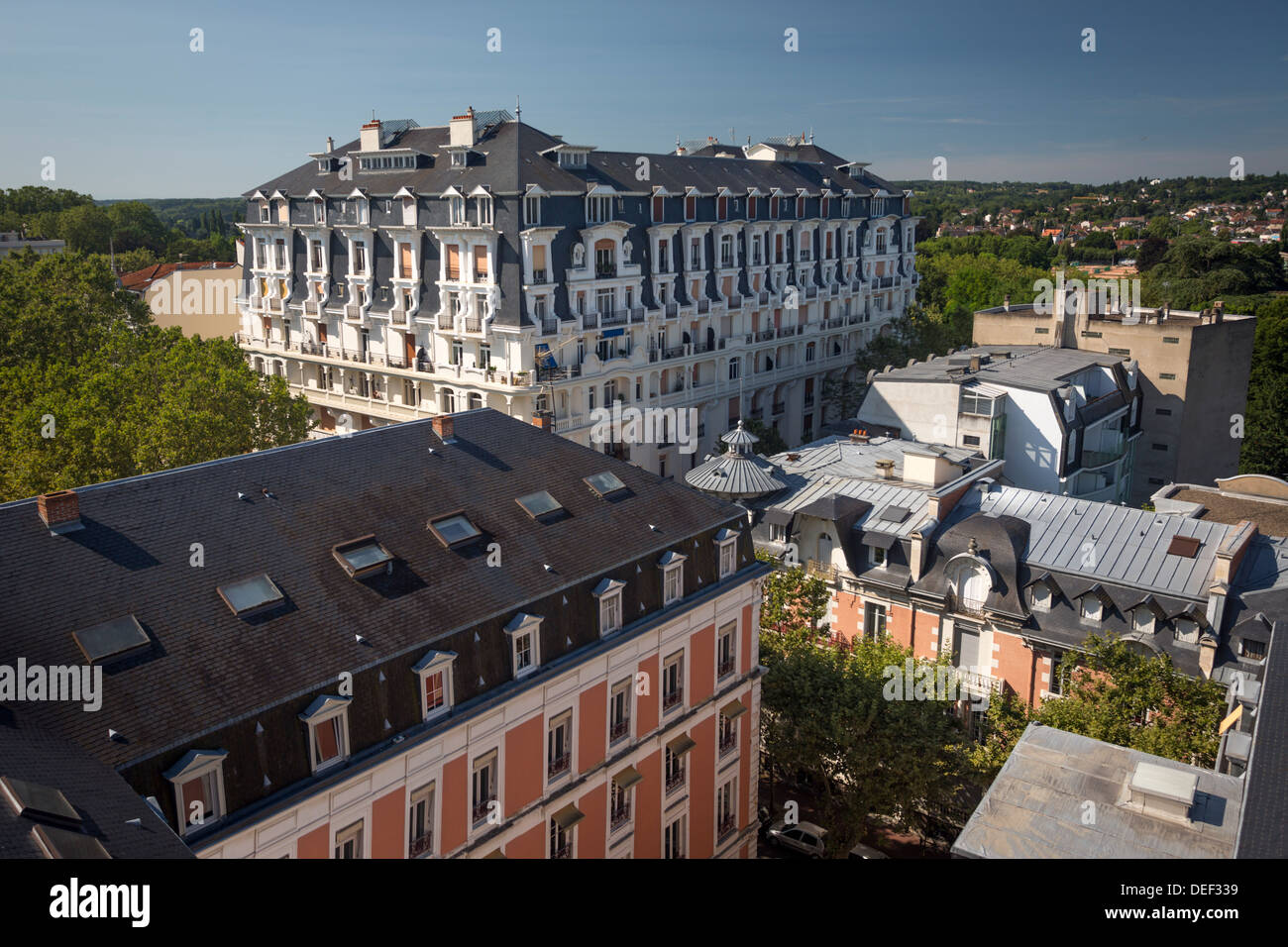 At Vichy (France), the old ambassador Hotel, the ambassador villa and the Parks Palace, a symbol of the 'Beautiful - Stock Image