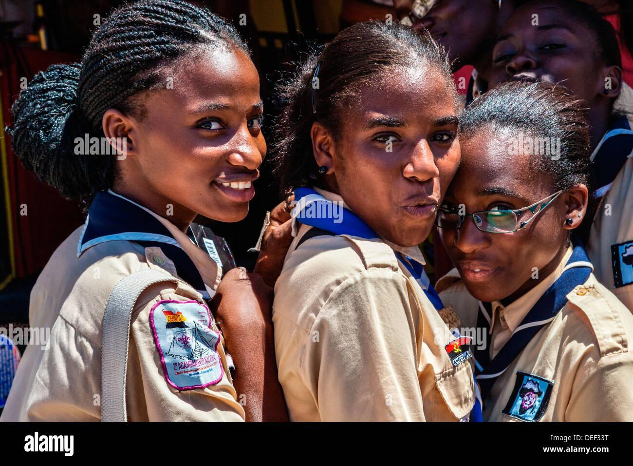 Africa, Angola, Lobito. Female scouts in Lobito. - Stock Image