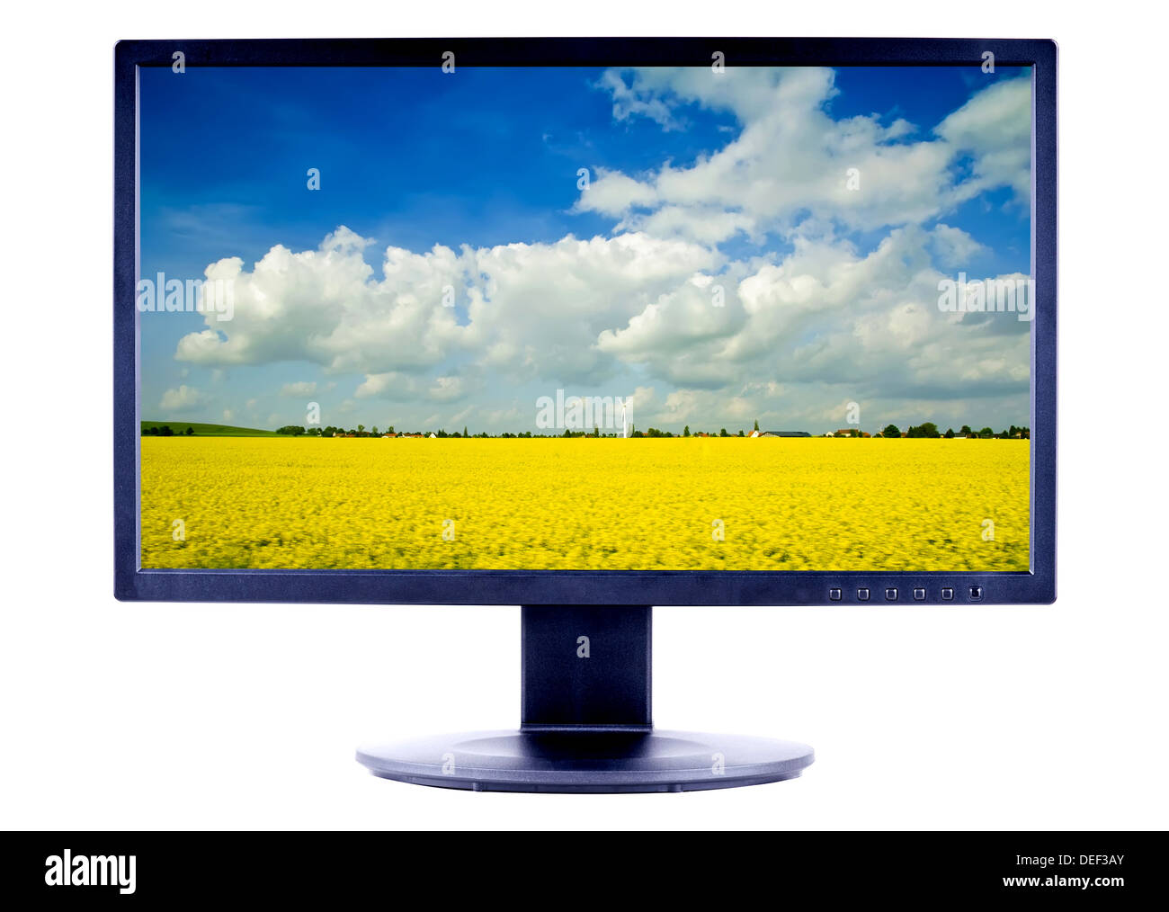 lcd monitor tv screen with landscape isolated on a white background - Stock Image