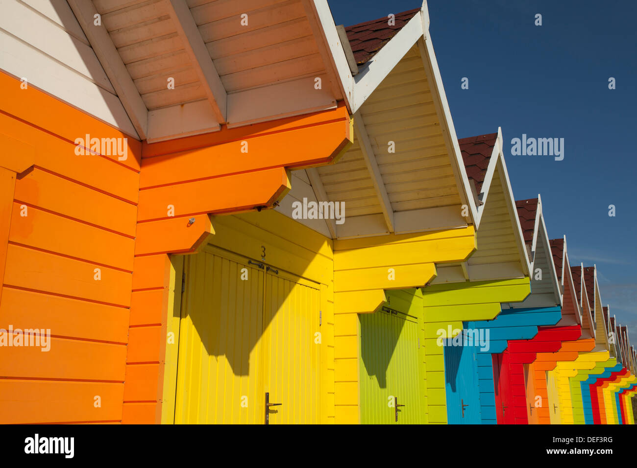 Colourful Beach Huts on North Bay, Scarborough - Stock Image