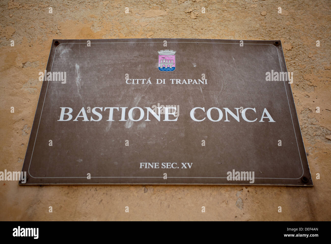 The sign for Bastione Conca in Trapani in the Province of Trapani, Sicily. - Stock Image