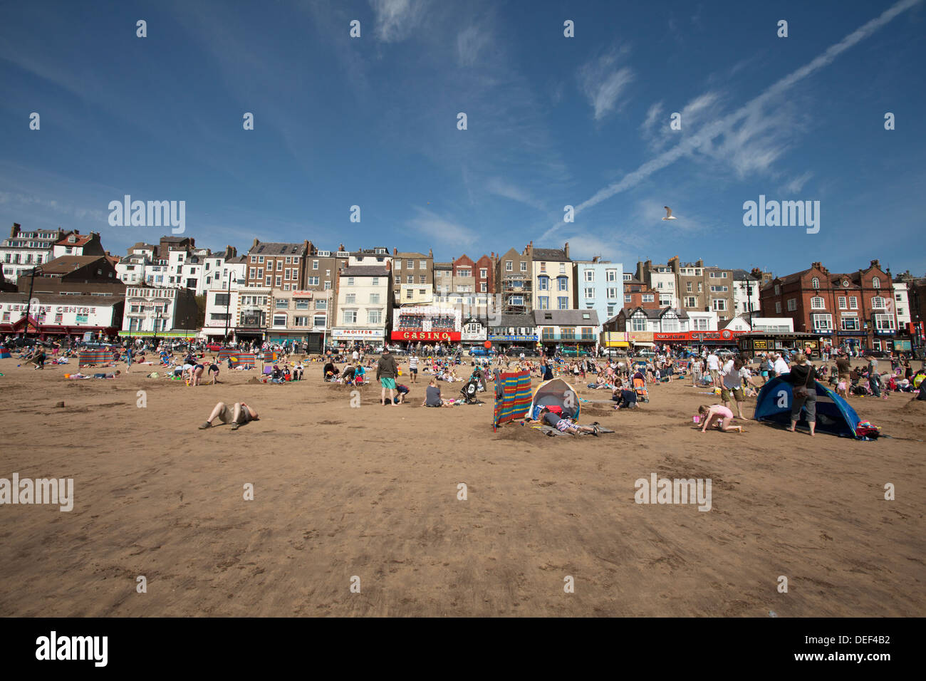 Busy Scarborough Beach on a sunny day. June 2013 - Stock Image