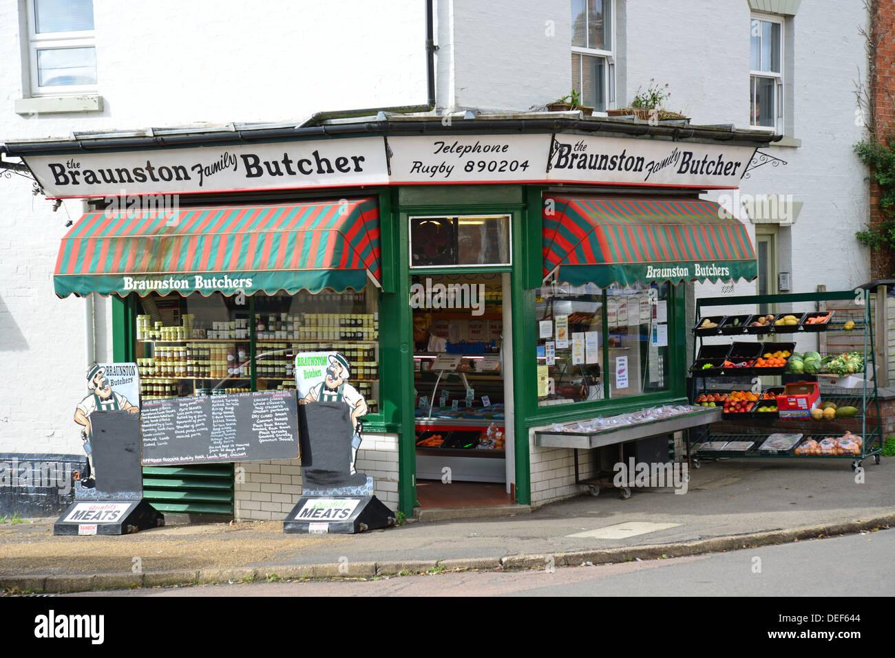 Braunston Family Butcher, High Street, Braunston, Northamptonshire, England, United Kingdom - Stock Image