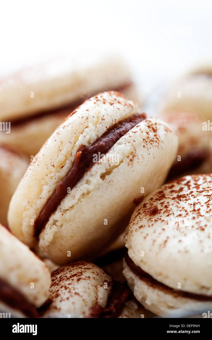 French macaroons with chocolate filling and cocoa powder - Stock Image