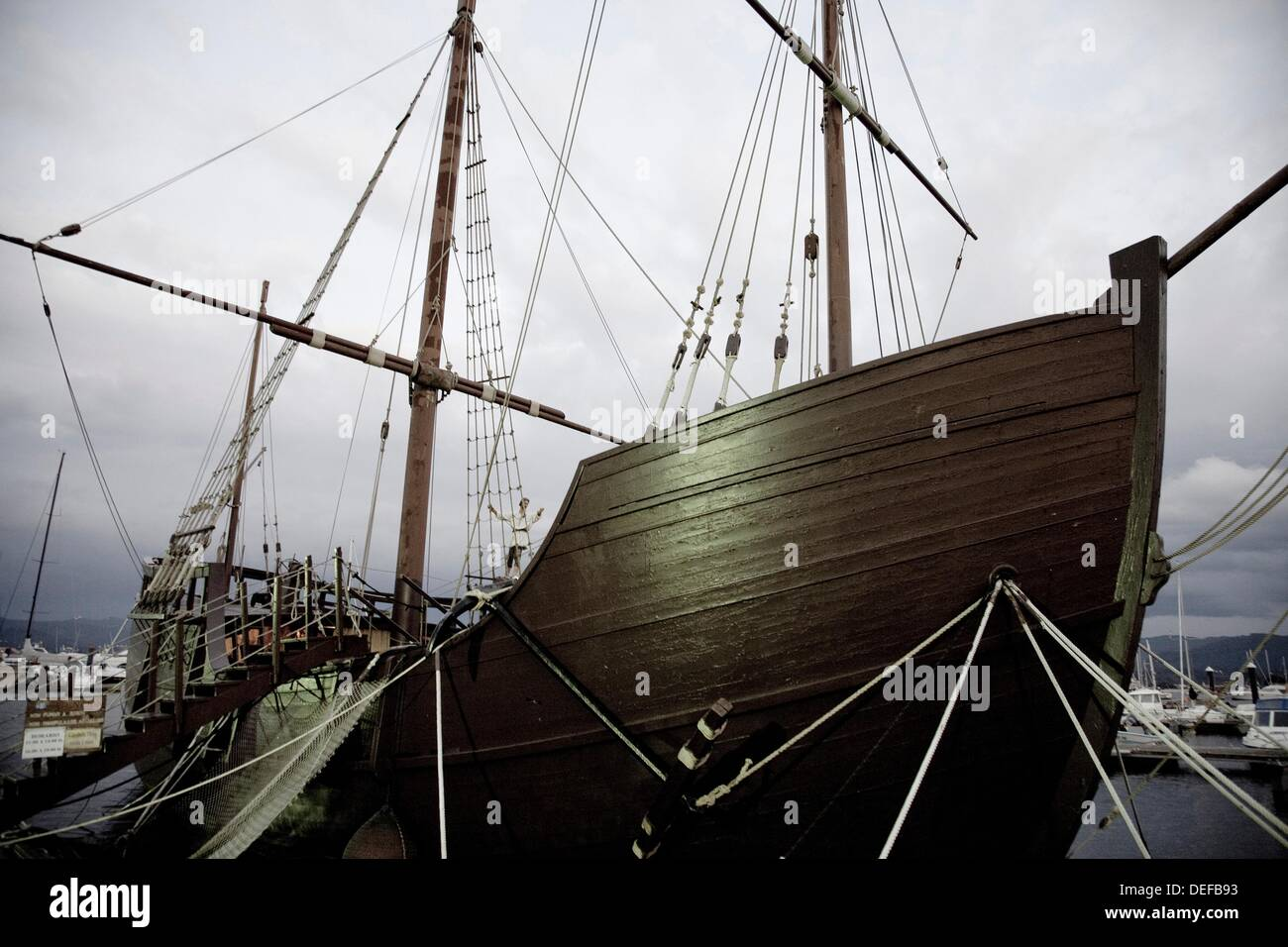 Replica of the caravel La Pinta used by Christopher Columbus in the discovery of America  Baiona  Galicia  Spain - Stock Image