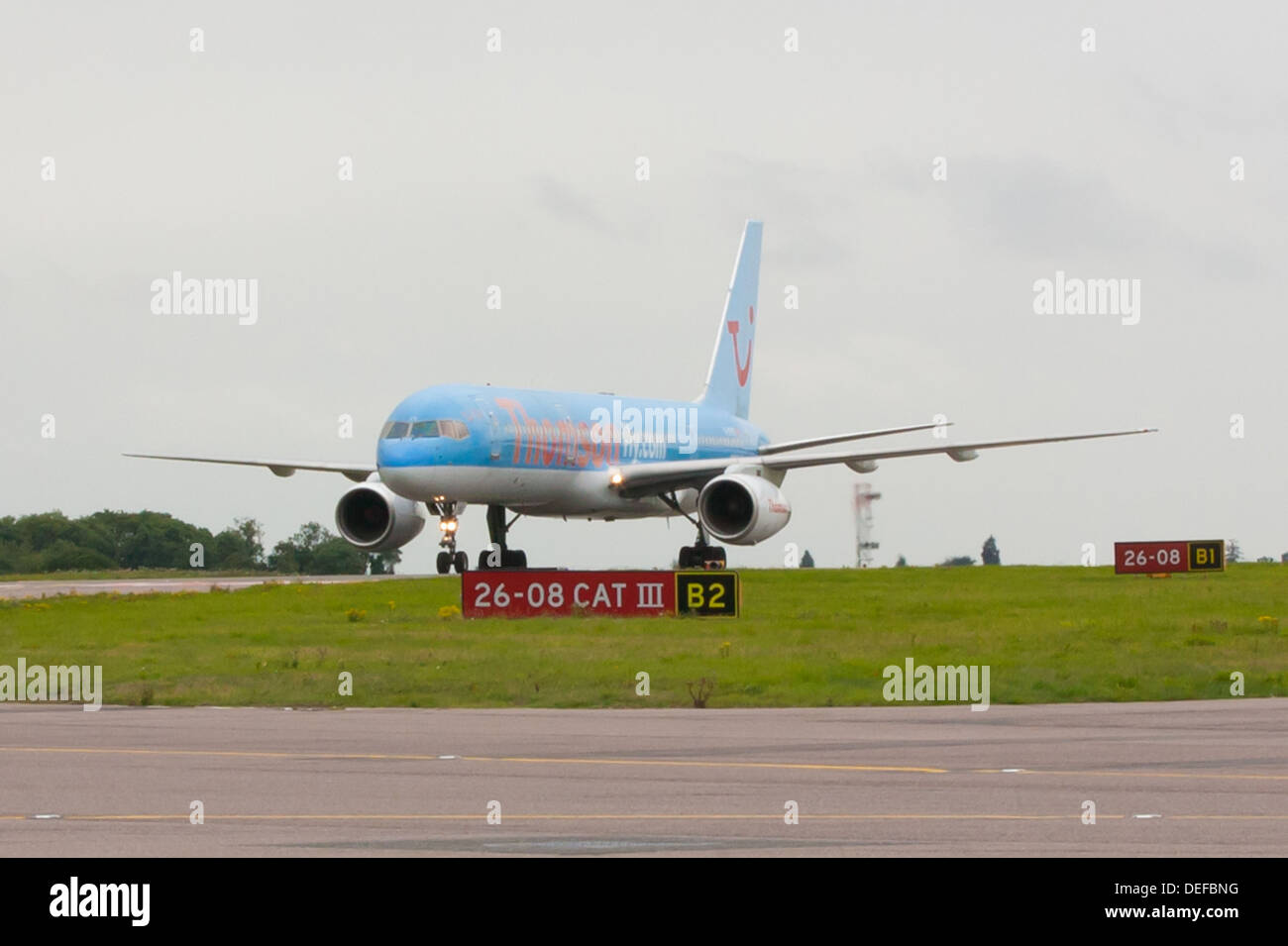 Thomson Airways Boeing 757 Taxiing at Luton Airport - Stock Image