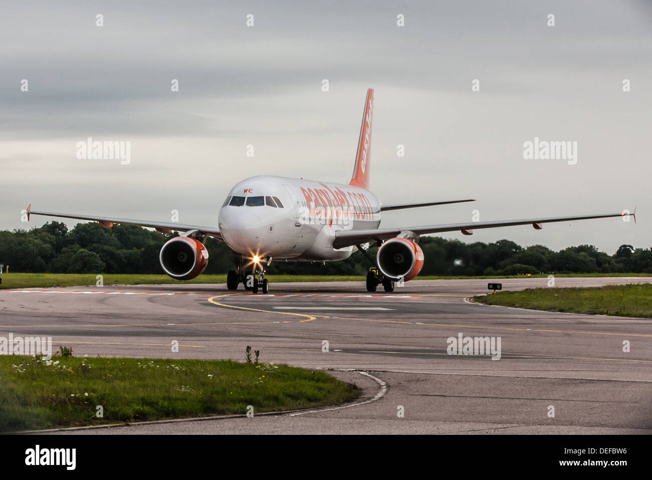 esayJet plane taxiing at Luton airport after landing Stock Photo