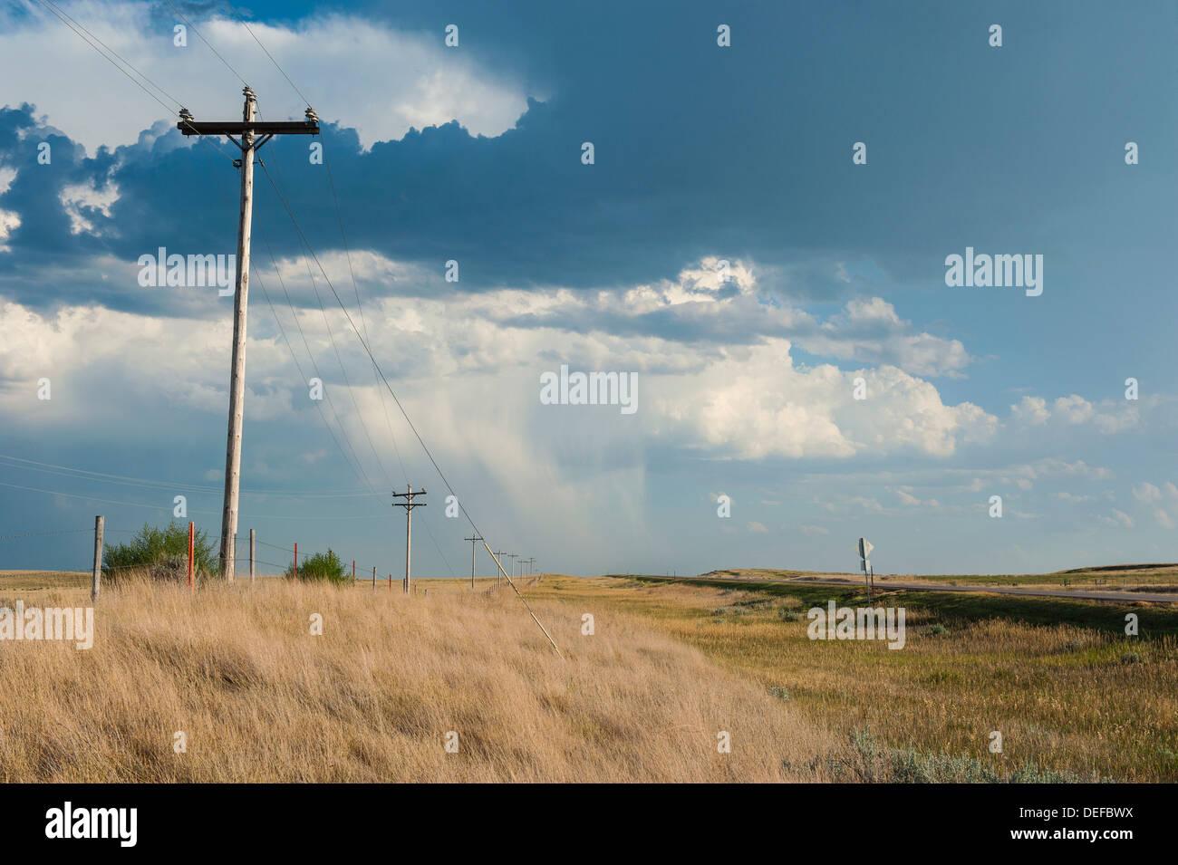 Telephone posts, Wyoming, United States of America, North America - Stock Image