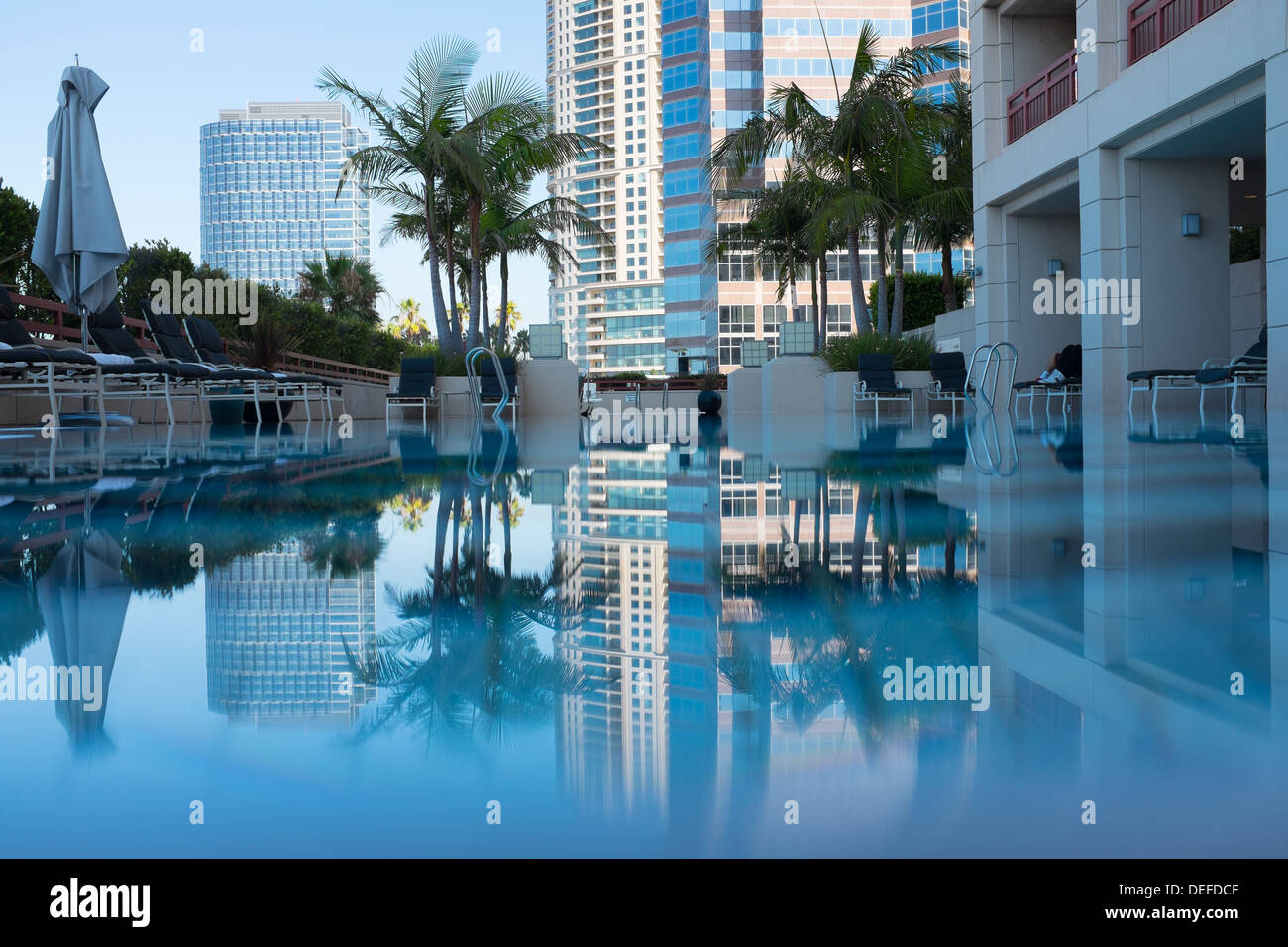 Pool of the Hotel Intercontinental, Century City, Los Angeles - Stock Image