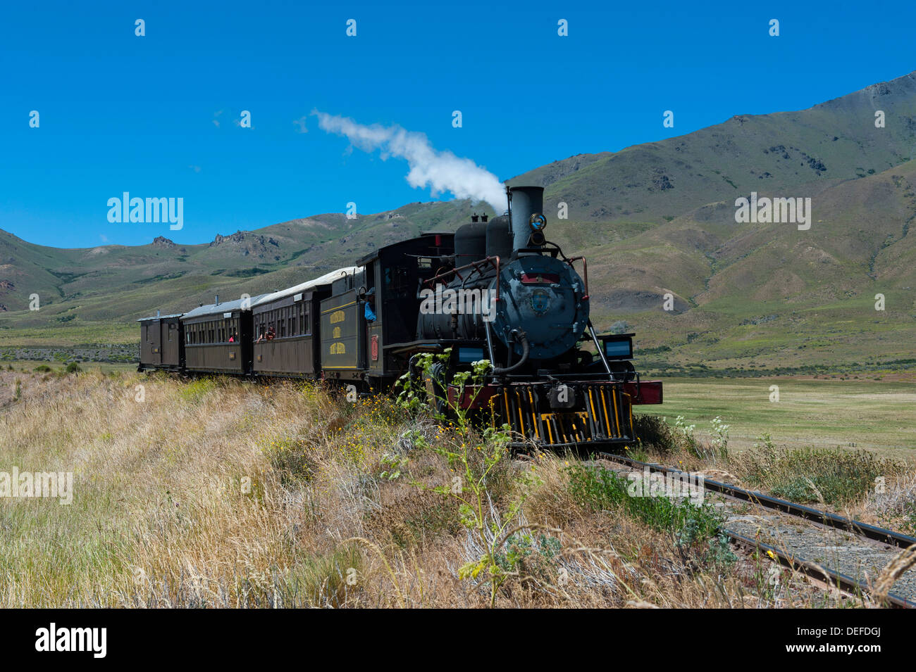 La Trochita, the Old Patagonian Express between Esquel and El Maiten in Chubut Province, Patagonia, Argentina, South America - Stock Image