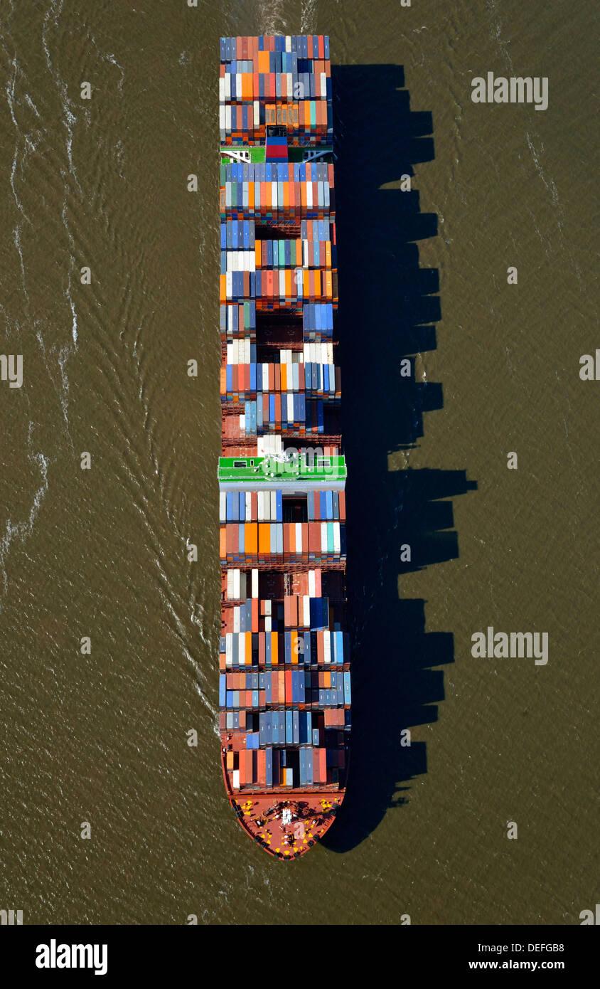 NYK Venus, container ship of the shipping company NYK Lines, aerial view, Hamburg, Hamburg, Germany - Stock Image