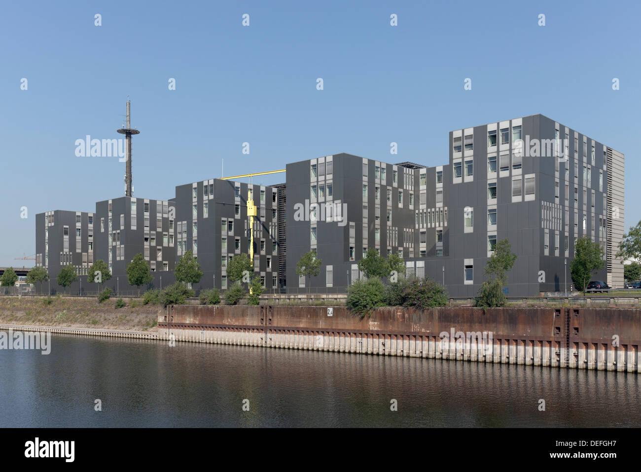 Landesamt fuer zentrale polizeiliche Dienste, police authority building, LZPD, Innenhafen, Duisburg, Ruhr district - Stock Image