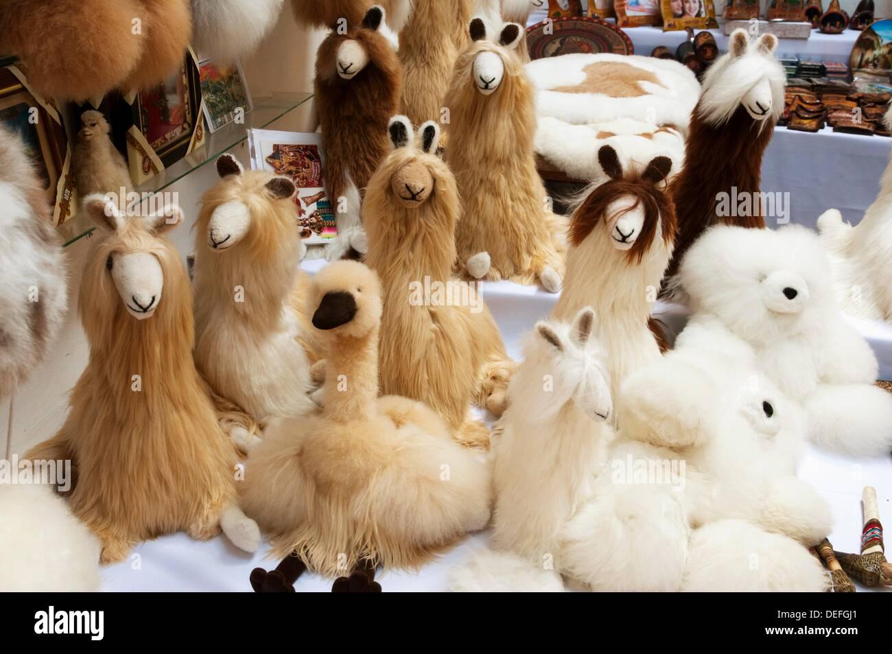 Closeup Of Stuffed Alpaca Fur Animals In A Store In Agua Calientes
