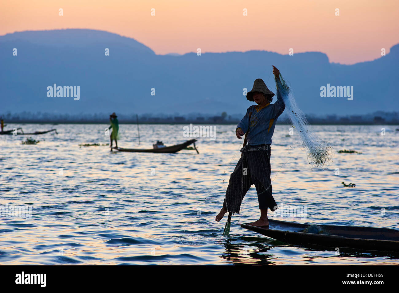 Fisherman on Inle Lake, Shan State, Myanmar (Burma), Asia - Stock Image